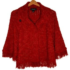 St. John Red & Orange Knit Fringe Cardigan Sweater